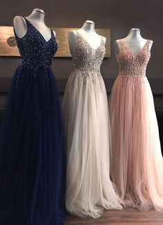 V-neck Long Prom Dress With Beading, Popular Tulle Eveing Dress ,Fashion Winter Formal Dress - Prom Dresses Grad Dresses, Prom Dresses Blue, Dance Dresses, Homecoming Dresses, Wedding Dresses, Dress Prom, Sexy Dresses, Casual Dresses, Summer Dresses