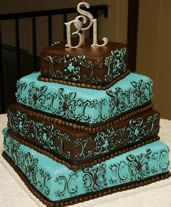 Square turquoise and brown wedding cakes - Google Search
