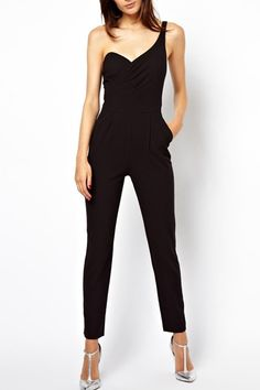 Keep it cool and edgy this summer with a super comfy jumpsuit. Featuring one shoulder, backless and solid color. Looks great with a simple pair of sandals for a summer sexy look!