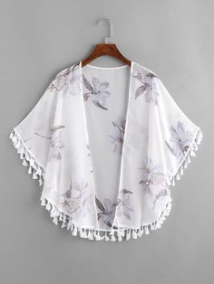 SheIn offers Floral Print Fringe Trim Kimono & more to fit your fashionable needs. Girls Fashion Clothes, Teen Fashion Outfits, Cool Outfits, Clothes For Women, Chiffon Kimono, Lace Kimono, Fringe Kimono, Floral Kimono, Kimono Outfit