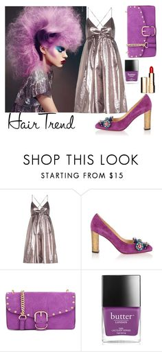 """""""matching hair"""" by karen-lynn-rigmarole ❤ liked on Polyvore featuring beauty, Victoria, Victoria Beckham, Christian Louboutin, Rebecca Minkoff, Butter London, Clarins, hairtrend, rainbowhair and purplesilvergold"""