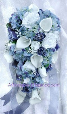 WHITE & BLUE Cascade Bridal Bouquet ~ Roses Calla Lilies Silk Wedding Flowers in Home & Garden, Wedding Supplies, Flowers, Petals & Garlands | eBay