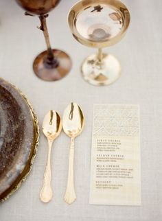 Neutral and gold place setting