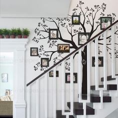 Feeling stumped about how to decorate that blank staircase wall? We have it covered with our Staircase Family Tree Wall Decal. This silhouette of a tree in bloo