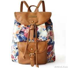 Wow~ Awesome good Fresh Retro Floral Flower Zebra stripes Drawstring Hasp Travel Bag Satchel Backpack! It only $33.99 at www.AtWish.com! I like it so much<3<3!