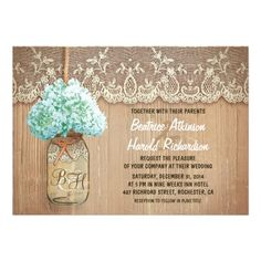 Cute rustic wedding invitation featuring mason jar with light blue - turquoise hydrangea blossom. Perfect invite for country wedding with vintage lace and distressed wood accents. ♥ For more rustic wedding invitations see http://www.zazzle.com/rustic+wedding+invitations?rf=238252963030229232&tc=wpz  ♥