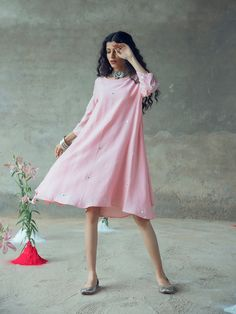 The Dress, Pink Dress, Frock Fashion, Fashion Wear, Womens Fashion, Swing Dress With Pockets, Contemporary Dresses, Kurti Designs Party Wear, Summer Skirts