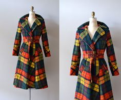 1970s plaid wool trenchcoat, DearGolden Vintage BUCHANAN tartan plaid....I know this because I had a suit made of the same plaid!!!! awful..I was 15yrs old...can u imagine?!!!