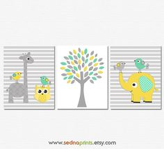 Mint, yellow and grey Nursery Art Print Set , Baby Room Decor, elephant, tree, giraffe, owl, birds, striped background, mint, grey, yellow