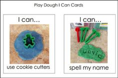 "write I CAN statements for the week  Free ""I Can"" Task Cards from Pre-K Pages (originally designed for a playdough center, but you could use them on a playdough activity tray)"