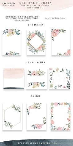 Neutral Wedding Flower Clipart, Watercolor Background, Rustic Clipart, Vintage Watercolor Floral Border Clip Art, Wedding Invitation Clipart Commercial Use without credit: http://etsy.me/2rBXrcP Neutral Florals is a set of hand-painted watercolor clipart, textures, background and borders. The floral watercolor designs have been painted in a modern style in a variety of gorgeous neutral & muted shades in warm & cool tones. Earth tones are increasingly becoming a favour...