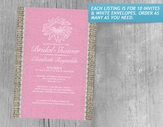 Pink Vintage Lace Bridal Shower Invitations