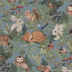 The second colourway 'dusty blue' in our new woodlands design. Will be online and ready for order this week. Kids Wallpaper, Animal Wallpaper, Pattern Wallpaper, Interior Design Living Room, Living Room Designs, Woodland Bedroom, Theme Forest, Carpet Sale, Animal Nursery