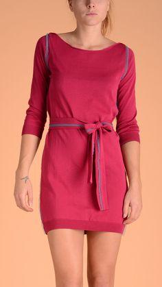 Terre Alte Crew neck, long sleeve mini dress, contrast tulle trim, belt. 100% cotton giza crepe