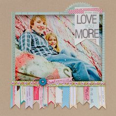 What a cute layout and you can use scraps for the bottom pennant bottom #scrapbooking #crafts #paper