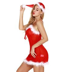 e48f2ee731 Womens Lingerie Christmas Sexy Lace Santa Babydall Chemise Sleepwear  Nightwear Rompers Jumpsuit for Women S-
