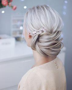 Simple beautiful bridal updo ,chignon ,wedding updo hairstyles, wedding hairstyle ideas #weddingupdo #updo #hairstyle #weddinghairstyle