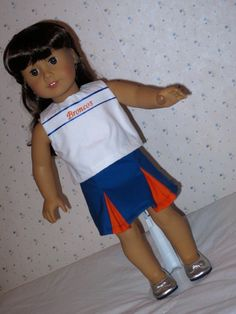 18 Inch Doll Three Piece Cheerleading Outfit Broncos Blue Orange and White by SEWSWEETDAISY