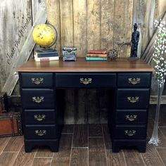 Rags to Riches vintage desk makeover in distressed black and stain top by Just the Woods