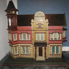 Rare German antique Wooden Dollhouse with Tower - Moritz Gottschalk Prev owned Antique Dollhouse, Wooden Dollhouse, Dollhouse Miniatures, Play Houses, Doll Houses, Dream Houses, Dollhouse Design, Old Dolls, Miniature Houses
