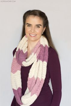 Antique Rose Ripple Infinity Scarf - Crochet Pattern + Giveaway