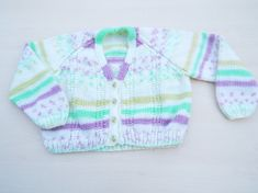 Hand knitted children's multi-colour stripy cardigan to fit 18 - 24 months £12.00