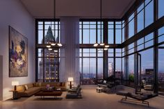 What do you think of this comfortable living room design, of a New York Penthouse? Rate this view from . New York Penthouse, Duplex New York, Luxury Apartments, Luxury Homes, Interior Design Living Room, Living Room Decor, Woolworth Building, Pent House, Architecture