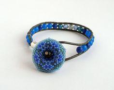 Wrap beaded bracelet with beaded flower from TisziBeads