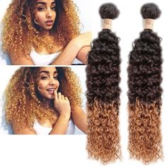Stylish New Brazilian Ombre Curly Wave Human Hair Extension Afro Curls Hair Weft #WIGISS #HairExtension