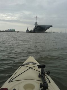 Kayaking Patriots Point in Charleston,  SC. USS Aircraft Carrier Yorktown (CV-10) ahead.
