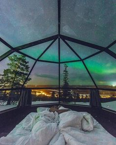 Northern Lights and Stars open sky in Lapland (Finland)