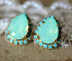bc085f2d9 Items similar to Mint Earrings, Swarovski Mint Opal Earrings, Bridesmaids  Mint Opal Earrings,Bridal Mint Opal, Gift For Her, Mint Bridal Opal Stud  Earrings ...