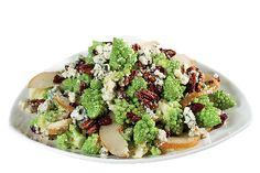 Crunchy Romanesco Salad with Blue Cheese, Bosc Pears, Roasted Pecans in Homemade Vinaigrette from #YummyMarket