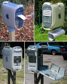 """These recycled Apple G4 towers bring a whole new meaning to 'you've got mail!""""   What do you think? on The Owner-Builder Network  http://theownerbuildernetwork.co/wp-content/blogs.dir/1/files/recycled-1/apple_mailbox.jpg"""