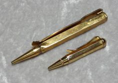 2 Gold Plated Mechanical Pencil Tie Clips, Swank, Men's Accessories, Vintage Mad Men, Business Executive, Writing Writer, 1940s-50s by OakwoodView, $20.00