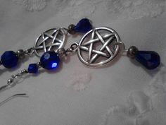 Silver Pentacle and Cobalt Blue Swarovski by SpiralHawkStudio, $13.00