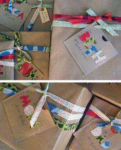 Cute fabric ribbon and Kraft paper gift wrap