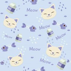 Seamless pattern of cute head of cat with fishbone and milk box Premium Vector Milk Box, Free Boxes, Baby Scrapbook, Note Paper, Kids Prints, Colour Images, Cute Wallpapers, Cats And Kittens, Iphone Wallpaper