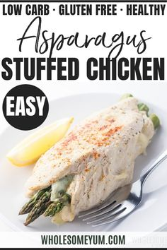 Healthy asparagus stuffed chicken breast makes a quick and easy weeknight dinner! If you like easy low carb recipes that you can make in 30 minutes start to table, you need to try this asparagus stuffed chicken recipe. Keto Recipes, Dinner Recipes, Cooking Recipes, Chicken Asparagus, Asparagus Quiche, 30 Min Meals, Stuffed Chicken, Soup And Salad, Breast Recipe