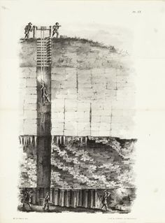 Cut-away lithography illustration of a mining operation, showing men lowering a miner into a mine where several other men are working. The Hard Way, Historical Society, Wisconsin, Illustration, Artwork, Work Of Art, Auguste Rodin Artwork, Artworks, Illustrations