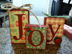 "Made several sets of these ""JOY"" blocks for the craft show."
