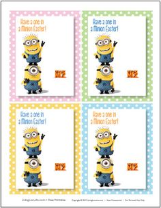 Despicable Me 2 Free Printable #Easter tags. Add a lollipop or candy spoons for a great class gift. #DespicableMe #minions LivingLocurto.com