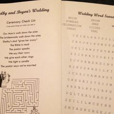 Kids wedding program with a maze, word search, and check list    I think the adults will be jealous