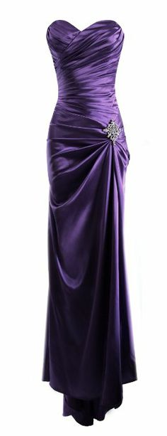 Amazon.com: Strapless Long Satin Bandage Gown Bridesmaid Dress Prom Formal Crystal Pin: Clothing
