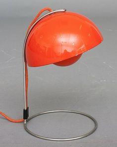Verner Panton; Enameled and Chromed Metal 'Flower Pot' Table Lamp for Louis Poulsen, 1969.