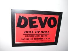 Devo Doll By Doll Framed Gig Poster Print by indieprints on Etsy