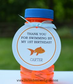 Goldfish Thank You Tag, Goldfish Birthday Party, Goldfish Baby Shower, Blue and Orange, Grey and White