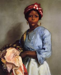 The Laundress (Robert Henri 1916 - oil on canvas). I saw this painting in person at the Phoenix Art Museum. It was much more colorful and mesmerizing that it is in this image. If you get a chance to see it in person, GO...