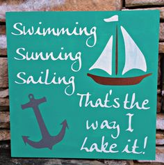 Nautical Sign, hand painted, wood sign, sailboat design,teal and white, lake house decor, beach house art
