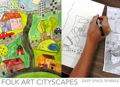 Learn how to draw folk art style cityscapes.